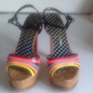 Multi color platform heels size 7 patent leather